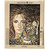 RTO Head of a Girl with Leopard D'Art Needlepoint Printed Tapestry Canvas, 60 x 50cm
