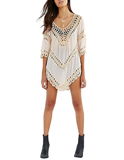 a79595f8281 Yiwa Women Summer Sexy Hollow Out Bikini Crochet Smock Beach Cover Up  Knitted Tops at Amazon Women's Clothing store: