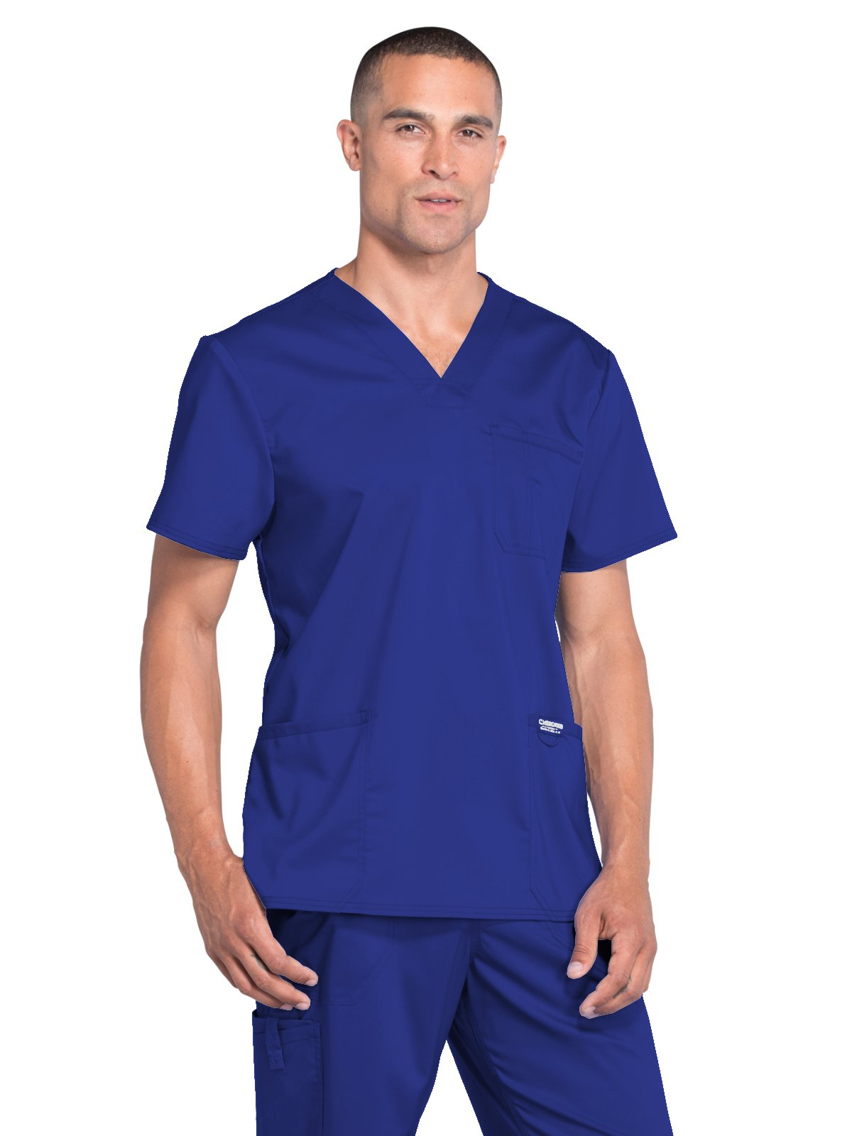 Cherokee Revolution Workwear Men's V-Neck Utility Solid Scrub Top Xx-Large Galaxy Blue by Cherokee