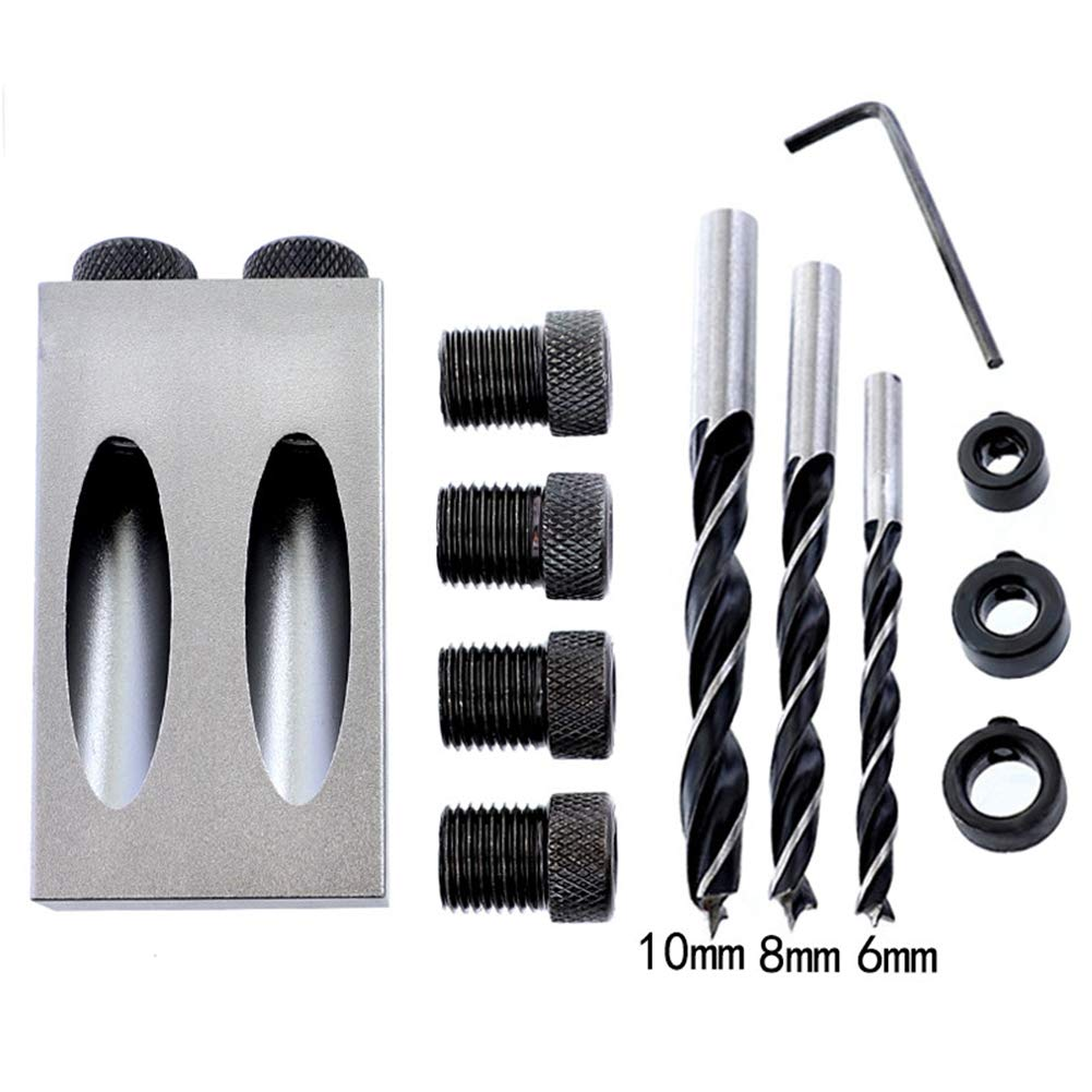 Pocket Hole Jig System with 6mm, 8mm, 10mm Drill Bits