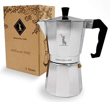 Bergström & Sons Espressokocher   Espressokanne aus Aluminium   Camping Kaffeekocher   Moka-Kanne mit Einem Fassungsvolumen v