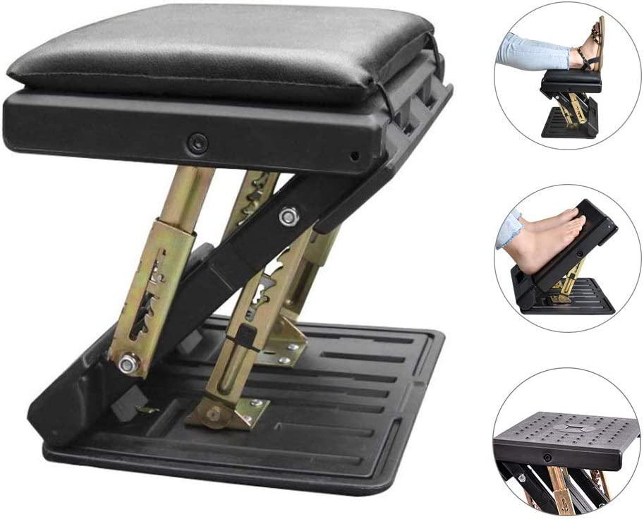 Adjustable Footrest with Removable Soft Foot Rest Pad Max-Load 120Lbs with Massaging Beads 4-Level Height Adjustment for Car,Under Desk, Home, Train