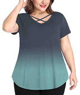 bd2f9bafd841c0 Sedimond Womens Plus Size Short Sleeve Criss Cross T Shirts Casual Loose V Neck  Tee Tops