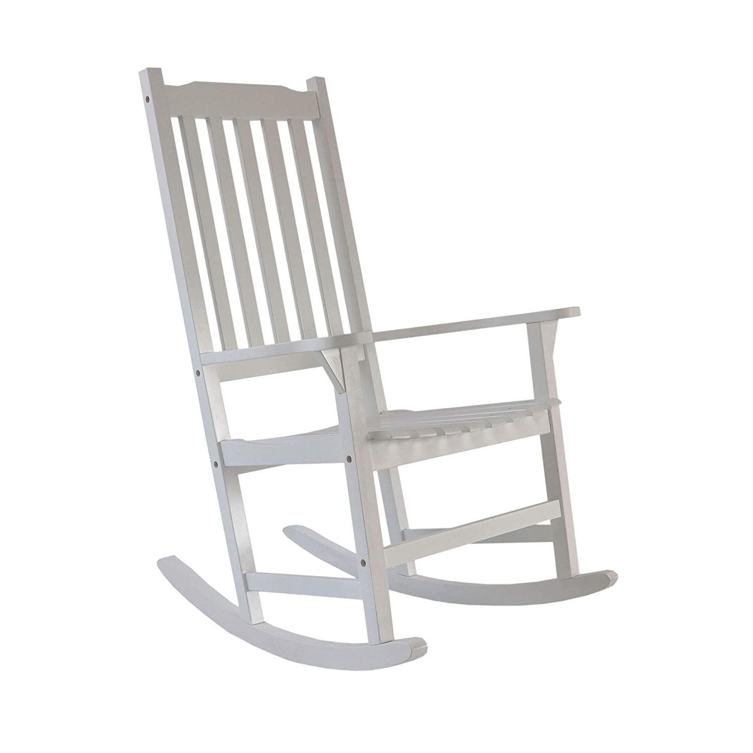 Merax Rocking Chair Solid Wood Indoor Outdoor Rocking Chair for Patio, Yard, Porch, Garden, Backyard, Balcony, White