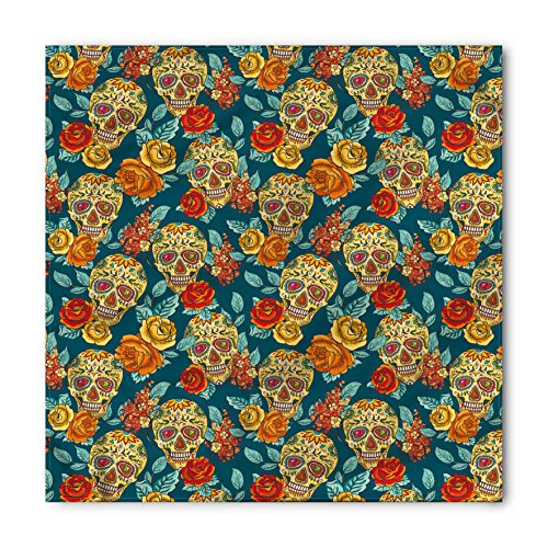 Ambesonne Unisex Bandana, Sugar Skull Diamond Eyes Roses, Teal Orange