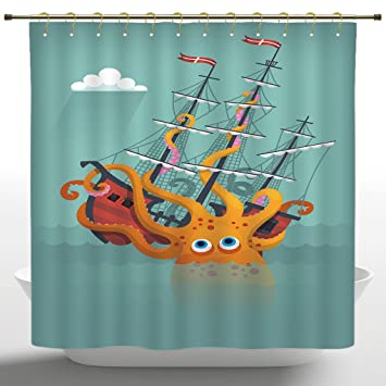 Waterproof Shower Curtain By IPrintKraken DecorGiant Squid Sinking A Pirate Boat Into