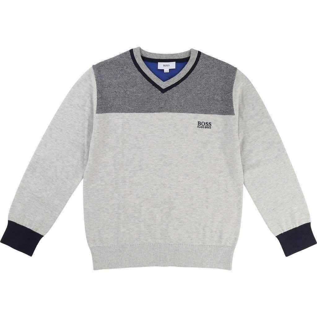 BOSS Gray V-Neck Knitted Sweater