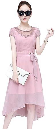 cb516b07fd7ce MengFan レディース シフォン ワンピース 半袖 夏着 きれいめ ロングワンピース 無地 レース付き エレガント ドレス
