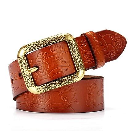 Styhatbag Cinturón de Mujer para Mujer Cinturones de Vaqueros de Cuero  Genuino de la Flor de bed8f1ba09ac