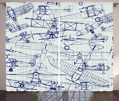 Ambesonne Airplane Curtains by, Old Airplane Drawings Classic Dated Flight Vintage Style Nostalgic Jets, Living Room Bedroom Window Drapes 2 Panel Set, 108 W X 84 L Inches, Violet Blue ()