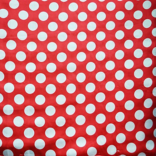 (Red / White Satin Polka Dot Charmeuse Fabric 58 inches / 60 inches width sold by the yard)