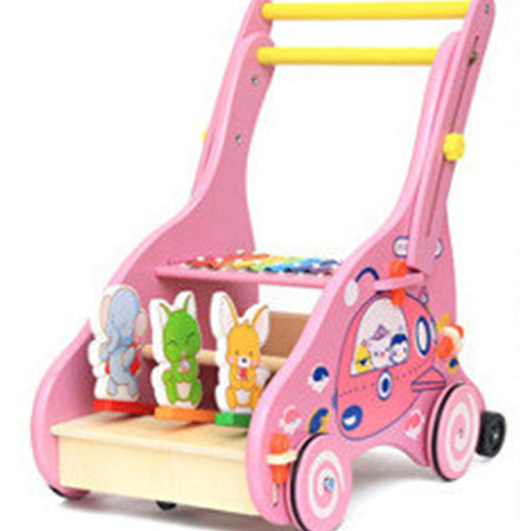 Baby Sit-to-Stand Learning Walker - Wooden Cartoon Push-Pull Toy with Wheel Fun Activity Stroller Multi-Function Walking Cart for Boys Girls (Pink)