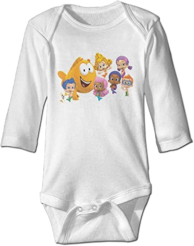 Unisex Long Sleeve Jumpsuits Cotton Bubble Guppies Logo Cute Baby