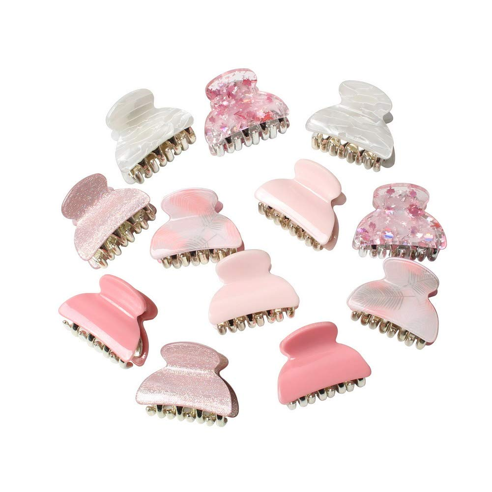 1.57 inch Floral Printed Small Acrylic Hair Claw Clips for Girls and Women,Plastic No-Slip Grip Jaw Hair Clip Hair Jaw Clamp ,Pack of 12 (Color B)