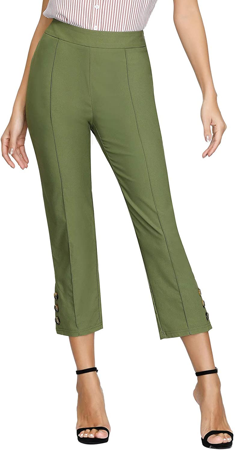 60s – 70s Pants, Jeans, Hippie, Bell Bottoms, Jumpsuits Belle Poque Womens Cropped Capri Pants Stretch Work Pants with Side Button Decorated $25.99 AT vintagedancer.com
