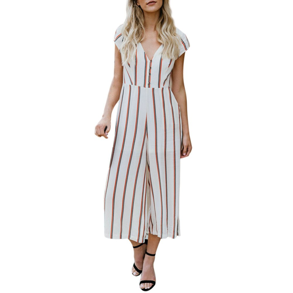 Women Summer Sleeveless Striped Jumpsuit Dress Casual Beach Party Loose Button Wide Leg Pants for Womens Clubwear White