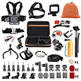 Pieviev 60-in-1 GoPro Accessories Kit for Gopro Hero5 Black 6 4 3+ 3 2 1, Action Camera 4K SJ4000 SJ5000 SJ6000 DBPOWER AKASO VicTsing APEMAN WiMiUS Rollei QUMOX Lightdow Campark and Sony (Black)