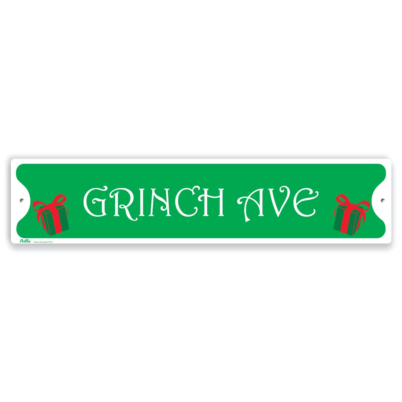 PetKa Signs and Graphics PKXM-0013-NA_18x4Grinch Avenue Aluminum Sign, 18 x 4, Green Text with Red Candy Cane Border 18 x 4 Lyle Signs Inc.