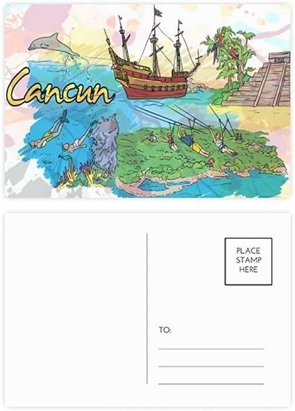Diythinker Cancun Mexique Temple Maya Ile Jeu De Cartes Postales Anniversaire Merci Carte Postale 20pcs Side 5 7 Pouces X 3 8 Pouces Multicolor 5 7 Pouces X 3 8 Pouces Multicolore Amazon Fr Fournitures De Bureau