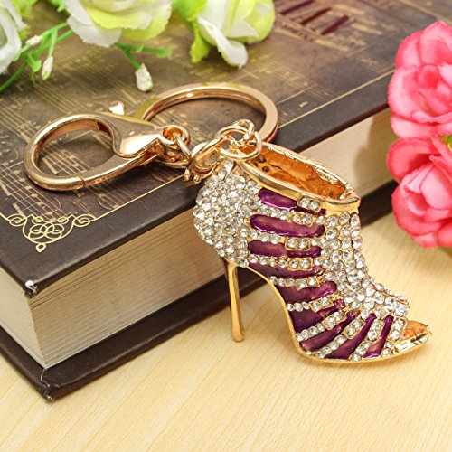 Crystal Rhinestone Diamante High Heel Shoe Decoration Chain for Phone Car Bag Key Ring keychain Charm Gift - Perfect for Women Ladies Girls' Phone Key Bag
