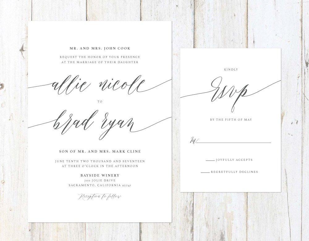 Elegant Wedding Invitation, Simple Grey Invitation, Grey Script Wedding Invitation