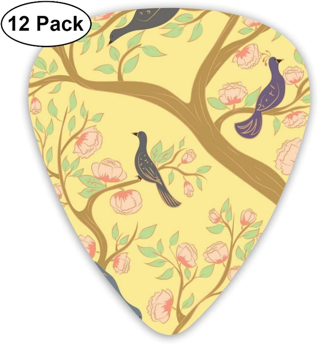Guitar Picks 12-Pack,Paradise Birds On The Branches Of A Flowering Tree In Pastel Tones: Amazon.es: Instrumentos musicales