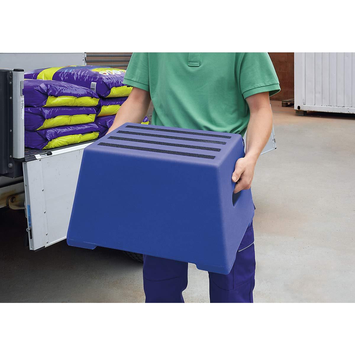 gepr/üft nach EN 14183:2003E 3 Stufen abwaschbar ultramarinblau Kunststoff-Tritt Steighilfe Tritt Kunststoff-Tritt mit rutschfesten Stufen