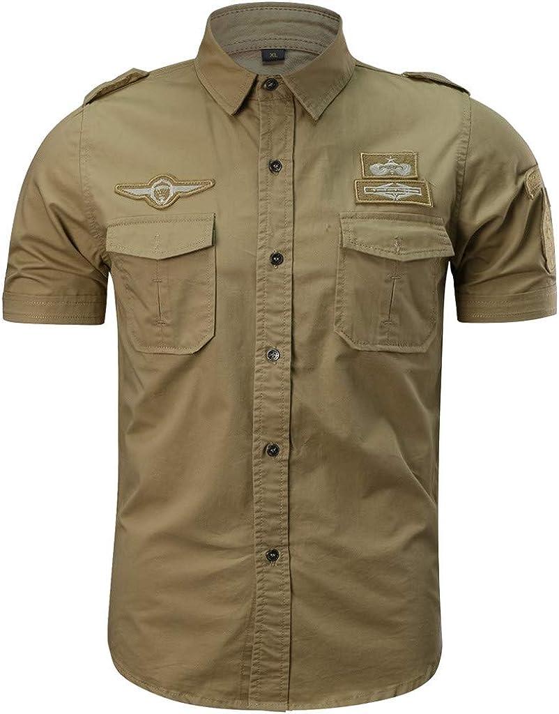 Camisetas Hombre Manga CortCamisa de Trabajo Hombres Moda Camisas ...