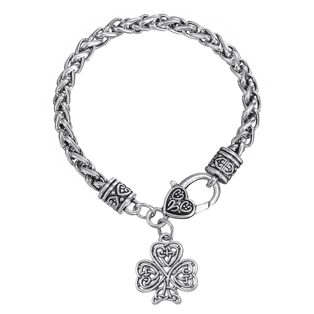 Irish Knot Love Heart with Good Luck Metal Pendant Link Chain Bracelets for Men and Women YI WU KE JI