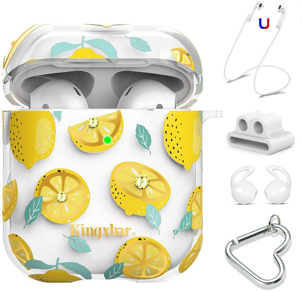 KINGXBAR AirPods Case 5 in 1 Clear Protective Hard PC AirPod Cover with Crystal from Swarovski for Apple AirPods 2 /& 1 Cute Lemon Design for Girls Women