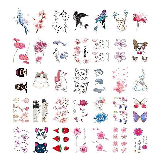 YSYYSH Dibujos Animados Animal Flor Impermeable Tatuaje Pegatinas ...