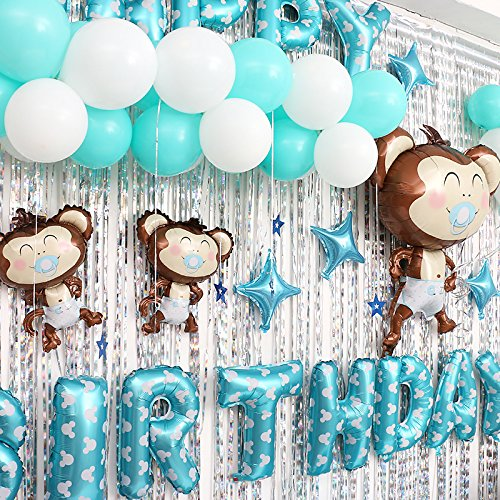 Cartoon Monkey Baby Birthday Party Balloon Set Birthday Party Arrangement Hotel Background Wall Dress Up (Blue(boy))