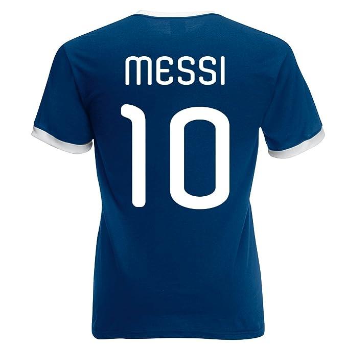 Printmeashirt para Hombre Retro Messi Argentina fútbol Camiseta, Unisex Adulto, Color Azul Marino Y Blanco, tamaño X-Large: Amazon.es: Ropa y accesorios