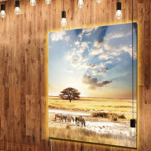 Zebra Metal Wall (Designart MT12815-40-48-LED African Zebras Drinking Water Extra Large African LED Metal Wall Art 40x48 LED Backlit,Brown,40x48)