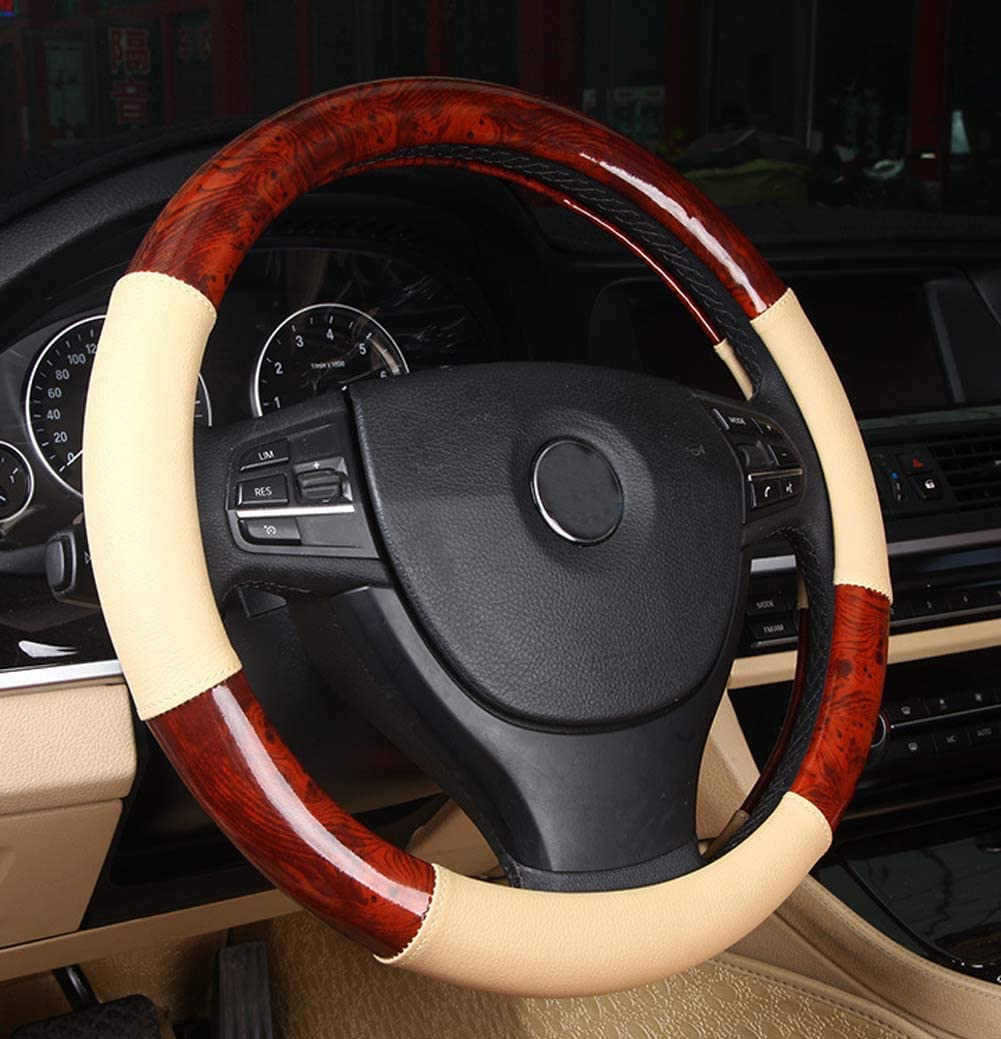 Xihaoer Wood Grain Effect Leather Steering Wheel Cover Wooden for Men 38 cm Black