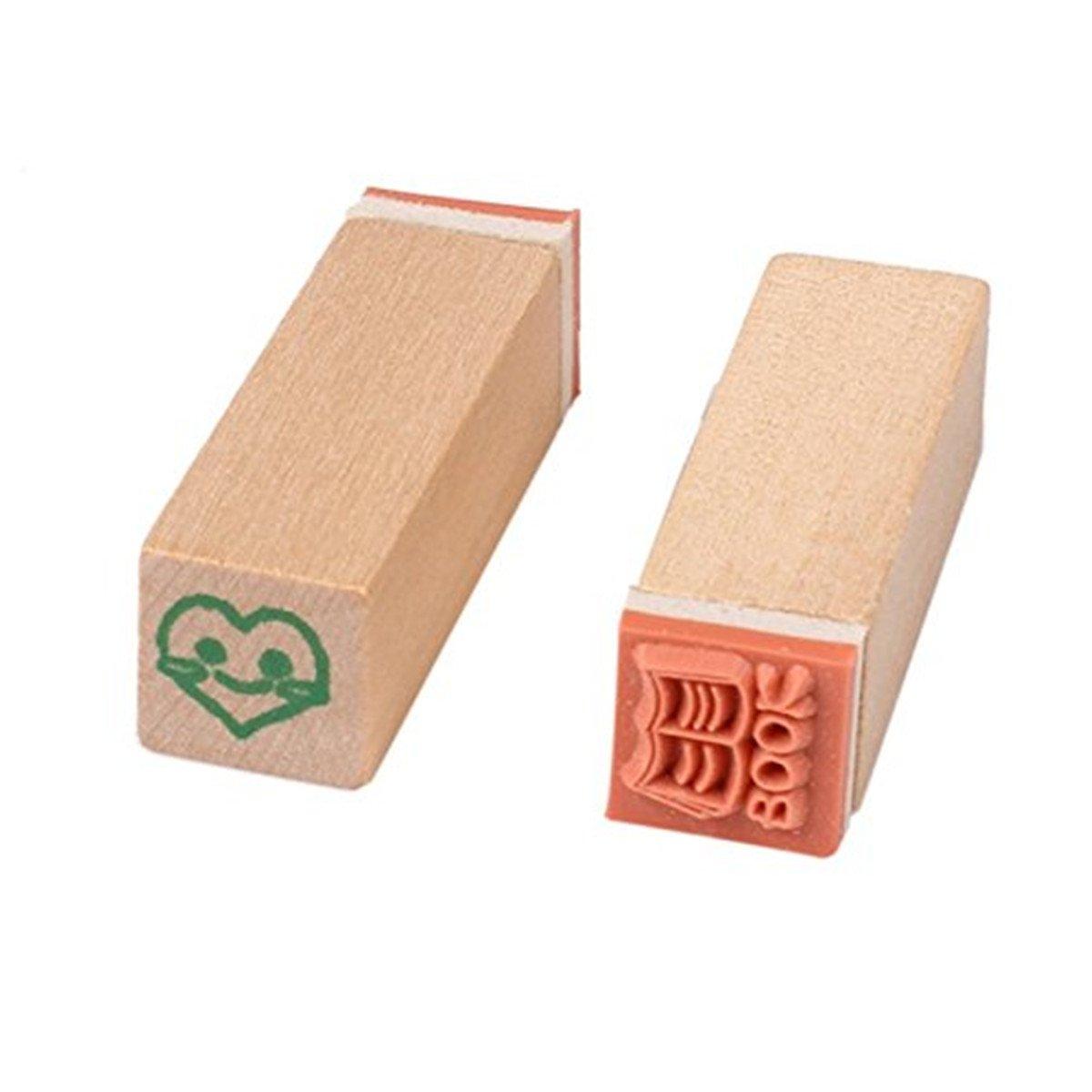 B Yansanido 12pcs Mini Cute DIY Diary Wooden Rubber Stamp Set with Wooden Box