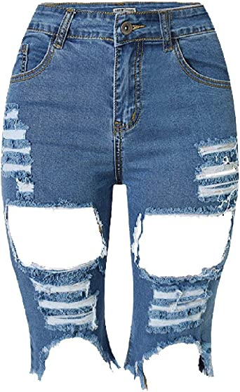 Denim Para Mujer Agujero Pantalones Elastico Vaqueros Altos Jeans Para Especial Estilo Mujer Pantalones Vaqueros De Mezclilla Cintura Pantalones De Verano Skinny Distressed Short Shorts Amazon Es Ropa Y Accesorios