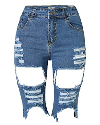 Denim para Mujer Agujero Pantalones Elástico Vaqueros Altos ...