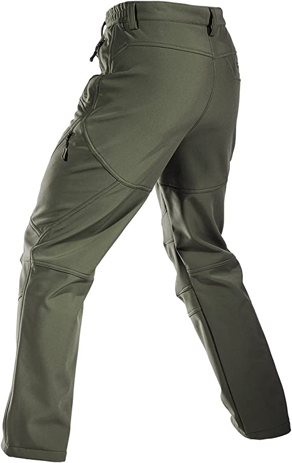 FREE SOLDIER Mens Fleece Lined Water Repellent Softshell Snow Ski Pants with Zipper Pockets Black 30W//30L