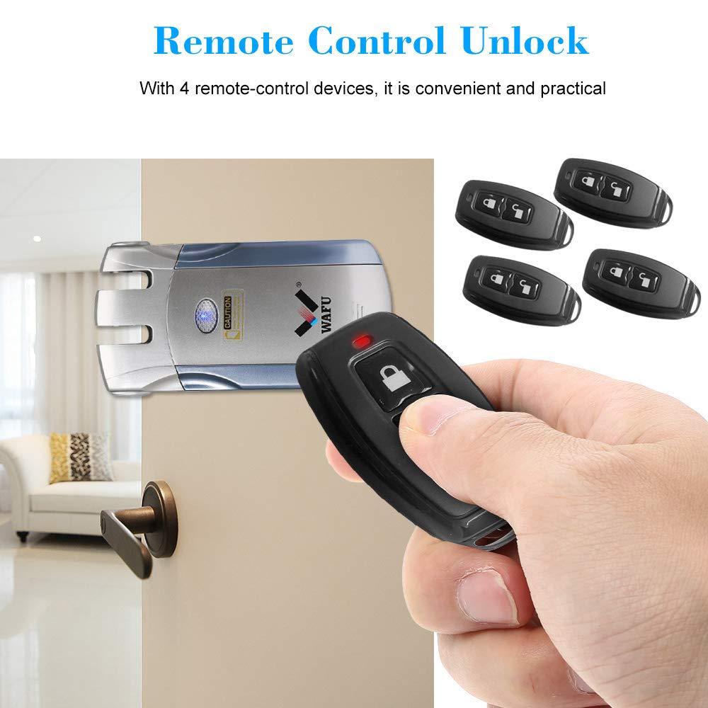 Azul Oro WAFU WF-018 Cerradura Inal/ámbrica Inteligente Cerradura Control Remoto Cerradura Invisible con 4 Control Remotos