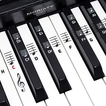 MORIATY® Pegatinas para piano y teclado para 49, 61, 76, 88 teclas + escuela de piano, juego completo de pegatinas para teclas negras y blancas, ...