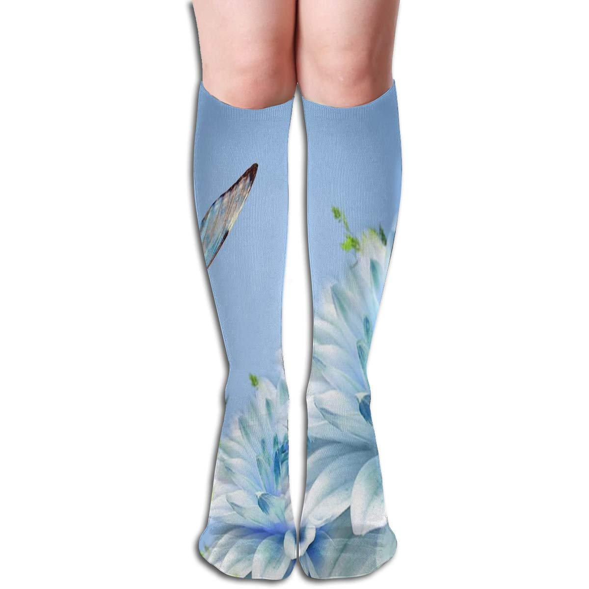Women Socks Over Knee Beautiful Flowers And Peacock Winter Customized For Thanksgiving Day