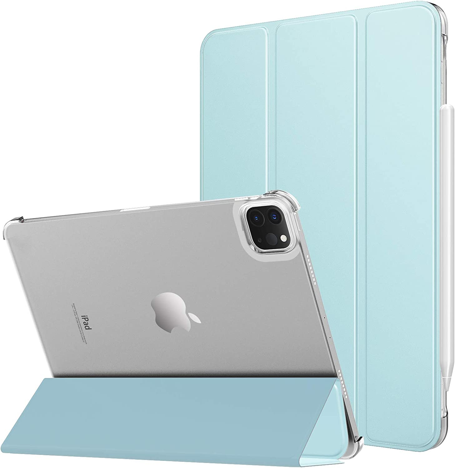MoKo Case Fit New iPad Pro 11 Inch Case 2021 (3rd Gen), [Support Apple Pencil Charging] Slim Trifold Hard Back Shell Protective Smart Cover Fit iPad Pro 11