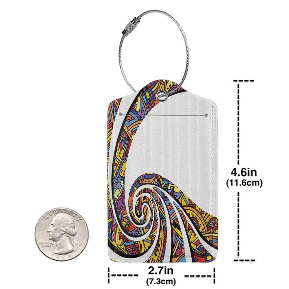 Modern luggage tag Colorful Home Decor Trippy Spiral Lines with Pattern Elements Celtic Culture Swirl Digital Art Suitable for children and adults Multi W2.7 x L4.6