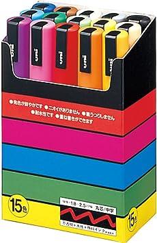 Amazon Com Uni Posca Pc 5m Paint Marker Pen Medium Point Set Of 15 Permanent Markers Office Products