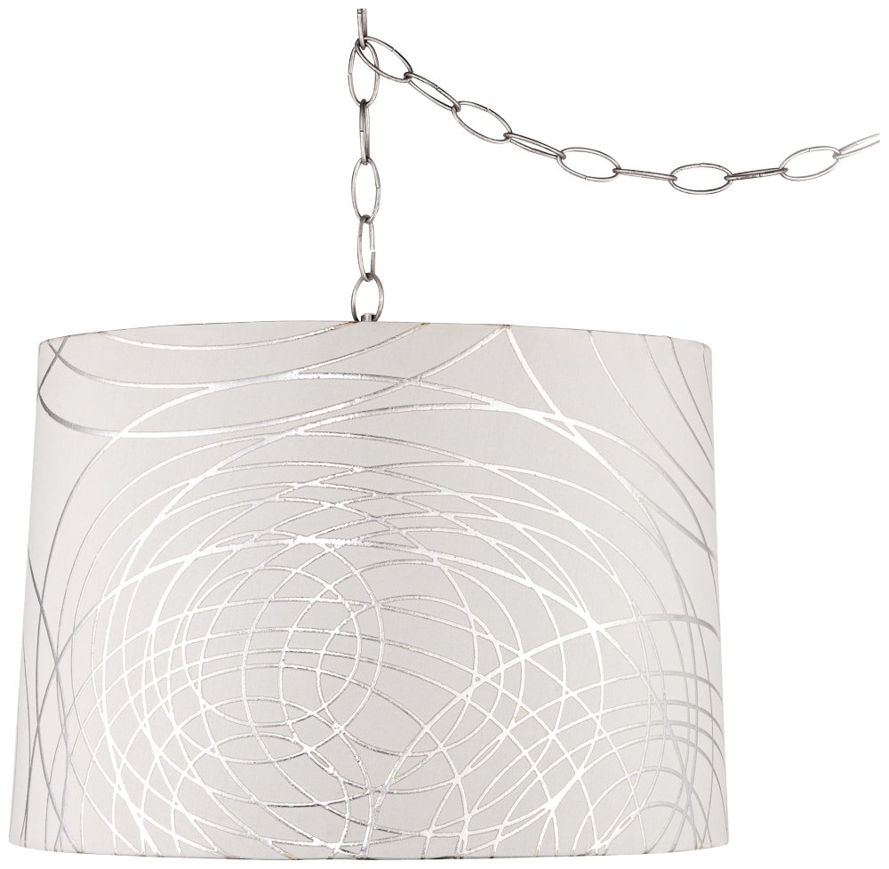 Abstract Silver Circles 16''W Steel Plug-in Swag Chandelier