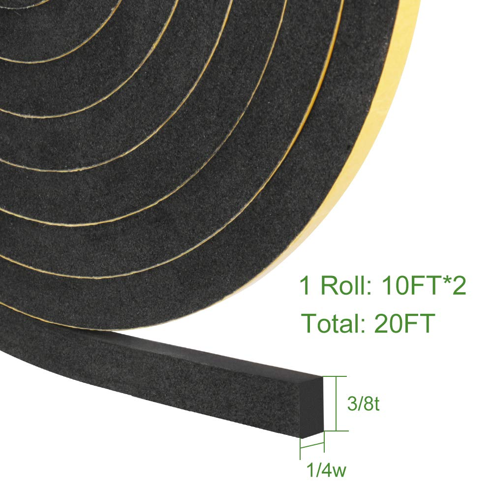 Foam Seal Tape,Weather Stripping for Door and Window Insulation,2 Pack 1//4in Wide x 1//8 T Seal Strip,Closed Cell Single Sided Adhesive Window Seal,Total 32FT