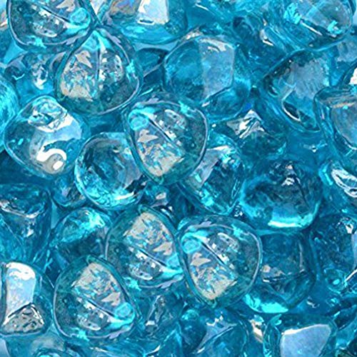 Stanbroil 10-pound 1/2 inch Fire Glass Diamonds for Fireplace Fire Pit, Caribbean Blue Luster (Glass Diamond Fireplace)