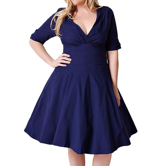 Sue&Joe Women\'s Vintage Dress Plus Size Wrap V-Neck Half Sleeve 1950s Swing  Dress