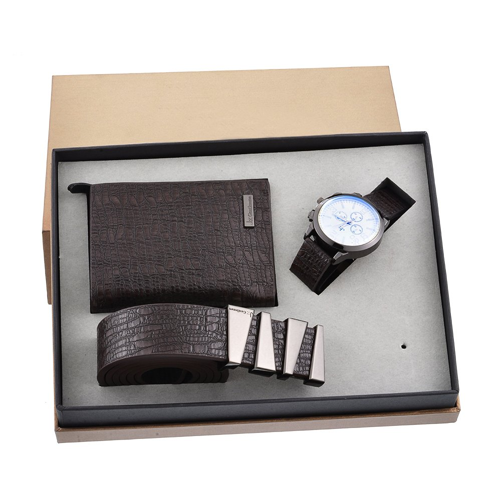 c5d2dcf6402e Souarts Mens Brown Watch Set Artificial Leather Quartz Analog Wrist Watch  Belt Wallet Set with Box Gifts for Men (Brown)  Amazon.co.uk  Watches